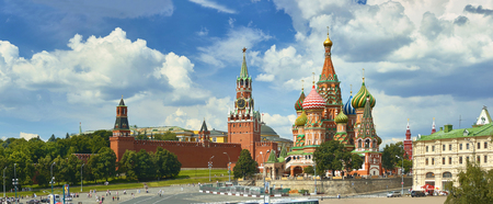 Panoramic view on Moscow Red Square, Kremlin towers, stars and Clock Kuranti, Saint Basils Cathedral church. Panorama from hotel Russia. Moscow holidays holiday tours famous sightseeing points
