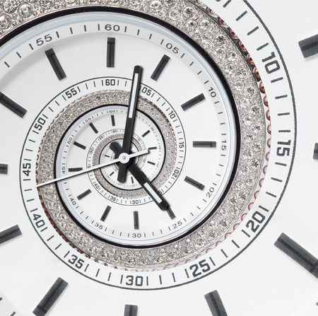 Futuristic modern strass diamond white clock watch abstract fractal surreal spiral. Watch clock unusual abstract texture pattern. Modern stylish fractal clock Helix abstract watch Imagens - 89027630