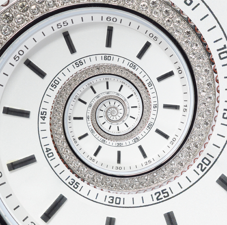 Futuristic modern white clock watch abstract fractal surreal spiral. Clock clock abstract abstract pattern pattern fractal background Modern stylish abstract fractal spiral effect surreal clock diamond Archivio Fotografico