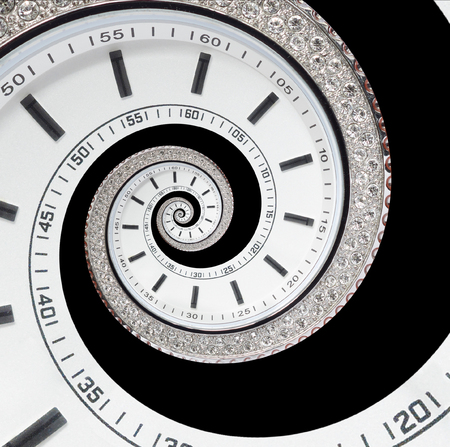 Isolated on black futuristic modern white clock watch abstract fractal surreal spiral. Watch clock unusual abstract texture pattern. Modern stylish abstract fractal spiral clock Archivio Fotografico
