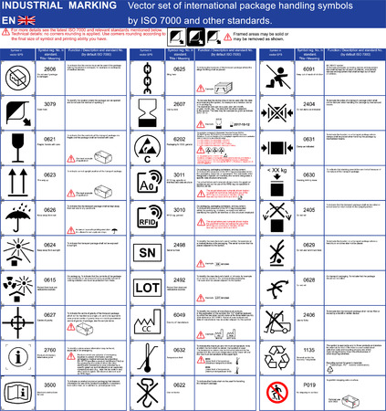 Industrial package marking set of official ISO 7000 package handling icons symbols Packaging icons symbols set Cargo marking. ISO 7000 package symbols set for boxes