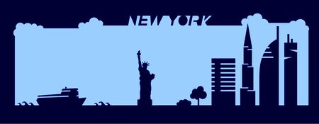 Sylle shape silhouette drawn in minimalism. NYC vector design for web designers and printing materials
