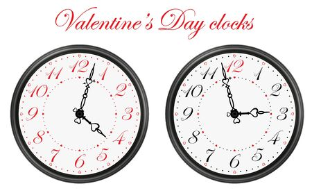 Set of two vector clocks for Valentine's Day application. Clock symbols Vector Clock in Valentines Day