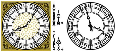 Golden square ornament dial clock and clock hands. Set of antique clock hands. Vector set of tower Big Ben style clock. Gothic Vintage vector watch