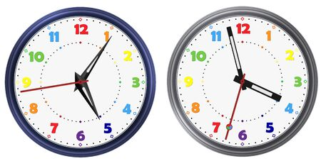 Clock hands. Rainbow colorful vector clock dial face. Vector clock arable numerals watch pointers. Modern vector watch image Vettoriali