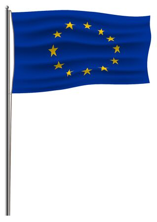 The official vector of the European Union flag is connected to a metal flagstaff. Isolated on white 3D effect Vettoriali
