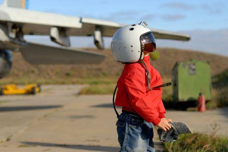 flight helmet: Boy in a flight helmet Stock Photo