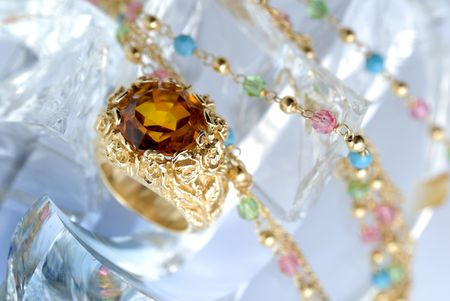 brilliants: Ring with brilliants on an ice