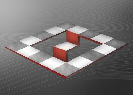 optical illusion in the form of an abstract checkerboard on a gray background