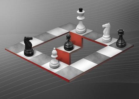 optische illusie in de vorm van een abstract dambord op een grijze achtergrond
