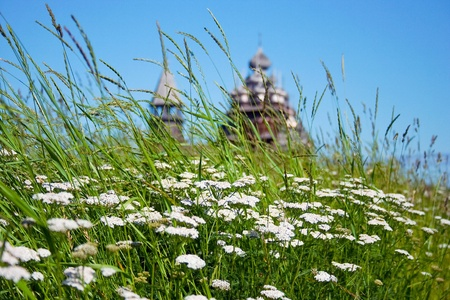 wooden churches on island kizhi on lake onega, russia photo