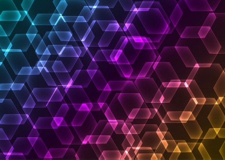 Abstract background with transparent colored hexagons Vector