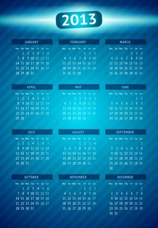 Vector kalender 2013 Stock Illustratie