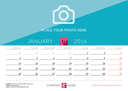 desk calendar: Desk Calendar 2016. Vector Print Template. January. Week Starts Monday. Vector Illustration