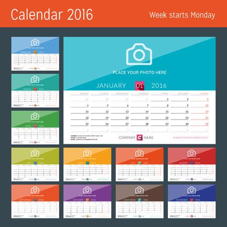 kalendarz: Biuro Kalendarz 2016 Wektor Drukuj Szablon. Tydzień zaczyna się w poniedziałek. Ilustracja wektora Ilustracja