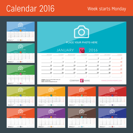 calendar: Desk Calendar 2016. Vector Print Template. Week Starts Monday. Vector Illustration Illustration