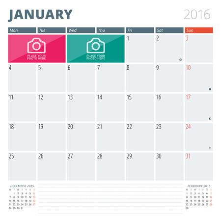 写真やメモのための場所とカレンダー プランナー 2016年デザイン テンプレートです。1 月。月曜始まり