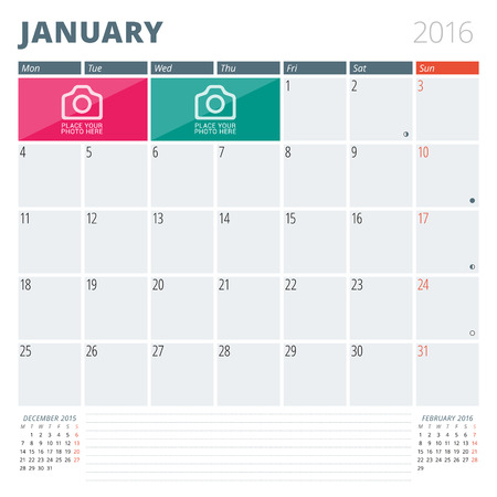 Calendar Planner 2016 Design Template with Place for Photos and Notes. January. Week Starts Monday