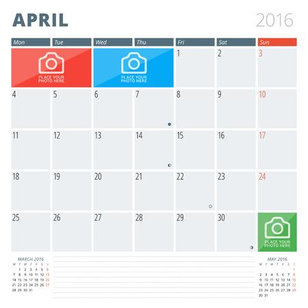 달력 플래너 사진 및주의 사항에 대 한 장소 2016 디자인 템플릿. 4월. 주 월요일을 시작합니다