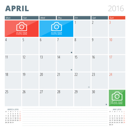 Calendar Planner 2016 Design Template with Place for Photos and Notes. April. Week Starts Monday 向量圖像