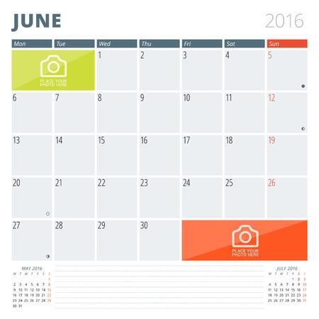 calendario: Calendario Planner 2016 plantilla de dise�o con lugar para las fotos y notas. Junio. La semana comienza Lunes Vectores