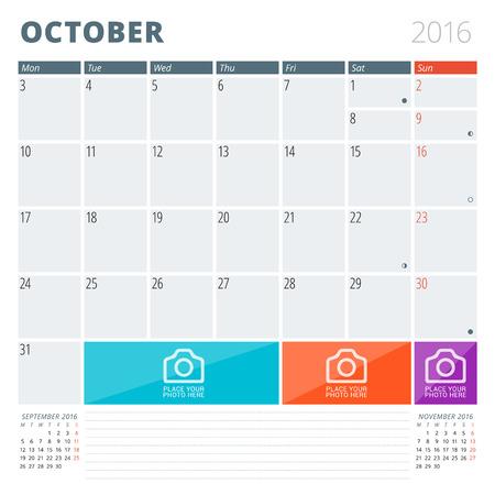 calendario octubre: Calendario Planner 2016 plantilla de dise�o con lugar para las fotos y notas. Octubre. La semana comienza Lunes