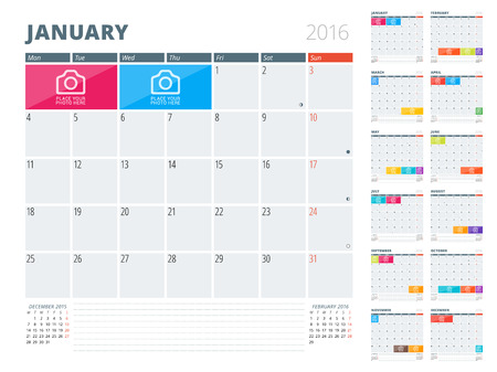 Kalender Planner 2016 Ontwerp sjabloon met plaats voor foto's en notities. Set van 12 maanden. Week begint maandag