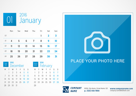 Desk Calendar 2016. Vector Print Template. January. Week Starts Monday Illusztráció