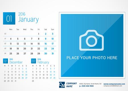 Desk Calendar 2016. Vector Print Template. January. Week Starts Monday Illustration