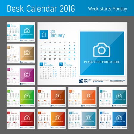 kalendarz: Biuro Kalendarz 2016. Zestaw 12 miesięcy. Wektor szablonu wydruku. Tydzień zaczyna się w poniedziałek