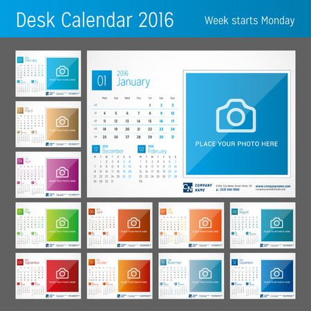 Desk Calendar 2016. Set of 12 Months. Vector Print Template. Week Starts Monday