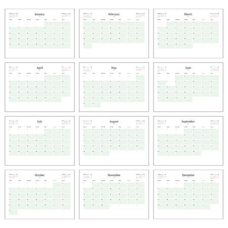 2016 년 인쇄 템플릿에 대한 월별 일정 계획은 12 개월로 설정합니다. 주 월요일을 시작합니다. 벡터 일러스트 레이 션
