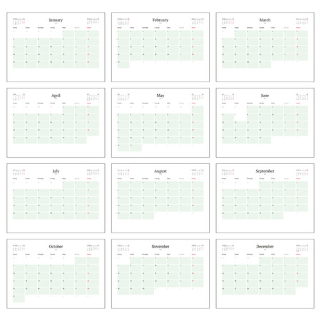 Monthly Calendar Planner for 2016. Print Template Set of 12 Months. Week Starts Monday. Vector Illustration Illustration