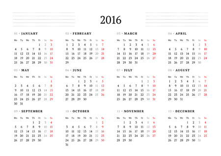 months: Simple Calendar for 2016. 12 Months. Week Starts Monday