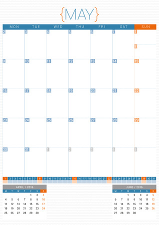 starts: Calendar Planner 2016 Design Template. May. Week Starts Monday