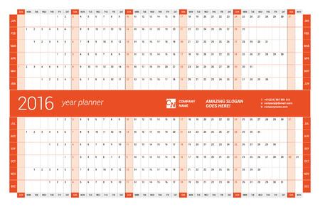meses del año: Calendario rojo Planner 2016 Año. Diseño vectorial Plantilla de impresión. Semana comienza el domingo