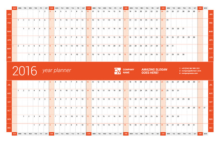 months of the year: Red Calendar Planner 2016 Year. Vector Design Print Template. Week Starts Sunday Illustration