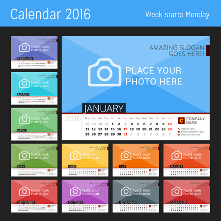 Desk Calendar 2016 Year. Vector Design Print Template with Place for Photo. Set of 12 Months. Week Starts Monday 向量圖像
