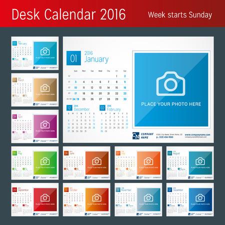 kalendarz: Biuro Kalendarz 2016 Wektor Drukuj Szablon. Tydzień zaczyna się w niedzielę