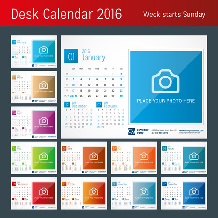 sjabloon: Bureaukalender 2016. Vector Print Template. Week begint zondag