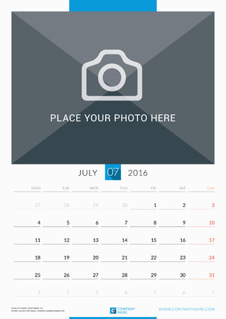 portrait orientation: July 2016. Wall Monthly Calendar for 2016 Year. Vector Design Print Template with Place for Photo. Week Starts Monday. Portrait Orientation