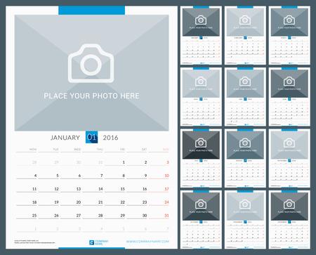 calendario: Pared Calendario mensual para el A�o 2016. Dise�o vectorial plantilla de impresi�n con lugar para la foto. La semana comienza el lunes. Orientaci�n Vertical. Conjunto de 12 Meses