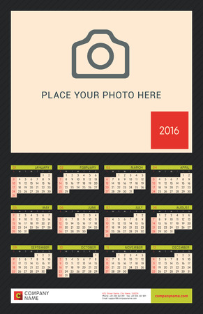portrait orientation: Wall Calendar Poster for 2016 Year. Vector Design Print Template with Place for Photo on Dark Background. Week Starts Sunday. Portrait Orientation