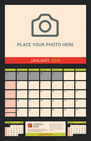 portrait orientation: Wall Calendar Planner for 2016 Year. Vector Design Print Template with Place for Photo on Dark Background. Week Starts Sunday. Portrait Orientation. January