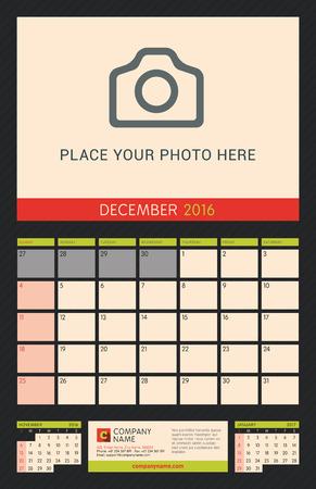 portrait orientation: Wall Calendar Planner for 2016 Year. Vector Design Print Template with Place for Photo on Dark Background. Week Starts Sunday. Portrait Orientation. December