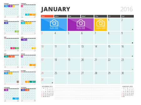 Kalender Planner 2016 Ontwerp sjabloon met plaats voor foto's en notities. Set van 12 maanden. Week begint zondag Stock Illustratie