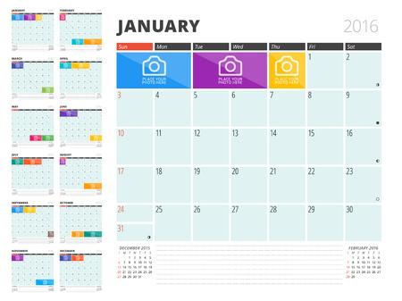 kalendarz: Planner Kalendarz 2016 Szablon z miejsca na zdjęcia i notatki. Zestaw 12 miesięcy. Tydzień zaczyna się w niedzielę Ilustracja