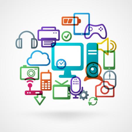 Licht Vector Achtergrond met kleurrijke Technology Icons