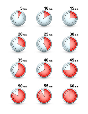 interval: Vector Set of Red Timer icons. Different Time Interval Icons