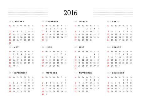 calendar 2016 vector print template 12 months week starts